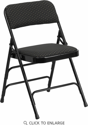 HERCULES Series Curved Triple Braced & Double Hinged Black Patterned Fabric Upholstered Metal Folding Chair [AW-MC309AF-BLK-GG]
