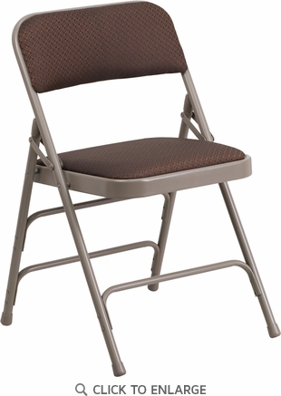 HERCULES Series Curved Triple Braced & Double Hinged Brown Patterned Fabric Upholstered Metal Folding Chair [AW-MC309AF-BRN-GG]