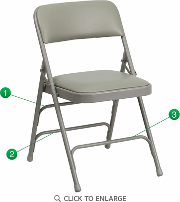 HERCULES Series Curved Triple Braced & Double Hinged Gray Vinyl Upholstered Metal Folding Chair [HA-MC309AV-GY-GG]