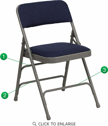 HERCULES Series Curved Triple Braced & Double Hinged Navy Fabric Upholstered Metal Folding Chair [HA-MC309AF-NVY-GG]