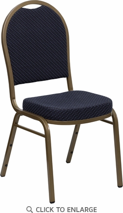 HERCULES Series Dome Back Stacking Banquet Chair with Navy Patterned Fabric and 2.5'' Thick Seat - Gold Frame [FD-C03-ALLGOLD-H203774-GG]