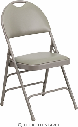 HERCULES Series Extra Large Ultra-Premium Triple Braced Gray Vinyl Metal Folding Chair with Easy-Carry Handle [HA-MC705AV-3-GY-GG]