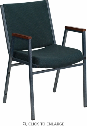 HERCULES Series Heavy Duty, 3'' Thickly Padded, Green Patterned Upholstered Stack Chair with Arms and Ganging Bracket [XU-60154-GN-GG]