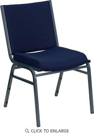 HERCULES Series Heavy Duty, 3'' Thickly Padded, Navy Blue Patterned Upholstered Stack Chair with Ganging Bracket [XU-60153-NVY-GG]