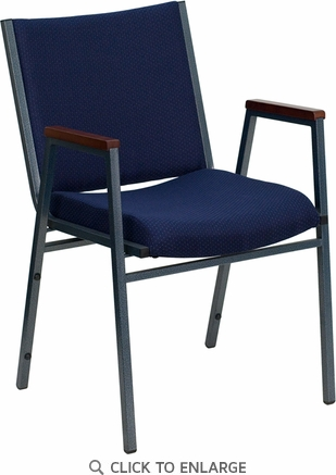 HERCULES Series Heavy Duty, 3'' Thickly Padded, Navy Patterned Upholstered Stack Chair with Arms and Ganging Bracket [XU-60154-NVY-GG]