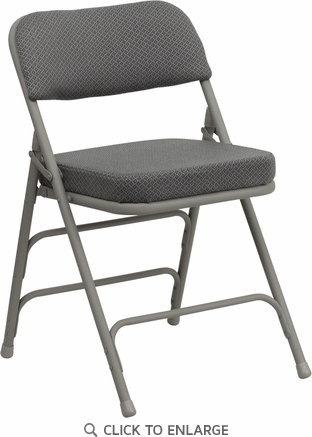 HERCULES Series Premium Curved Triple Braced & Double Hinged Gray Fabric Upholstered Metal Folding Chair [HA-MC320AF-GRY-GG]
