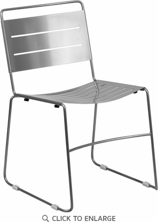 HERCULES Series Silver Indoor-Outdoor Metal Stack Chair [HA-1-SIL-GG]
