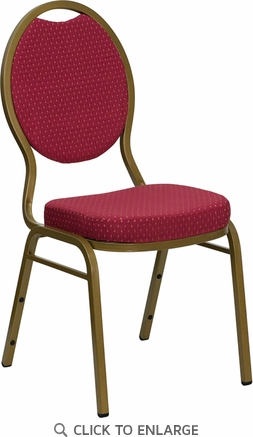 HERCULES Series Teardrop Back Stacking Banquet Chair with Burgundy Patterned Fabric and 2.5'' Thick Seat - Gold Frame [FD-C04-ALLGOLD-2804-GG]