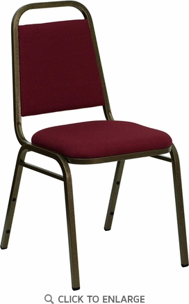 HERCULES Series Trapezoidal Back Stacking Banquet Chair with Burgundy Fabric and 1.5'' Thick Seat - Gold Vein Frame [FD-BHF-2-BY-GG]