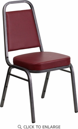 HERCULES Series Trapezoidal Back Stacking Banquet Chair with Burgundy Vinyl and 2.5'' Thick Seat - Silver Vein Frame [FD-BHF-1-SILVERVEIN-BY-GG]