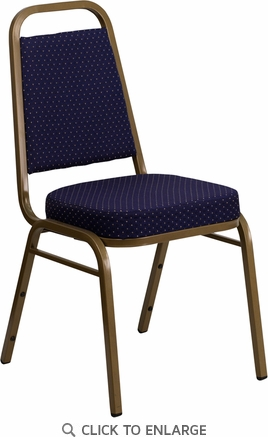 HERCULES Series Trapezoidal Back Stacking Banquet Chair with Navy Patterned Fabric and 2.5'' Thick Seat - Gold Frame [FD-BHF-1-ALLGOLD-0849-NVY-GG]