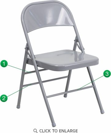 HERCULES Series Triple Braced & Double Hinged Gray Metal Folding Chair [HF3-MC-309AS-GY-GG]