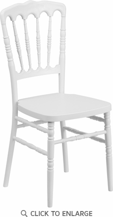 HERCULES Series White Resin Stacking Napoleon Chair [LE-L-8-WH-GG]