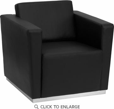 HERCULES Trinity Black Leather Chair with Stainless Steel Base [ZB-TRINITY-8094-CHAIR-BK-GG]