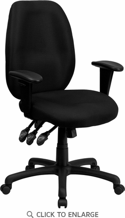 High Back Black Fabric Multi-Functional Ergonomic Office Task Chair with Arms [BT-6191H-BK-GG]