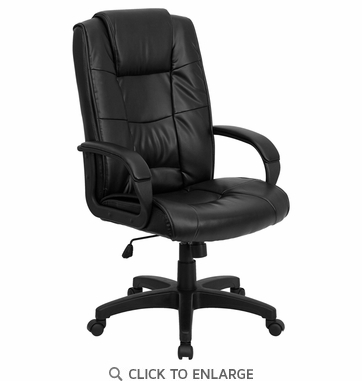 High Back Black Leather Executive Office Chair [GO-5301B-BK-LEA-GG]
