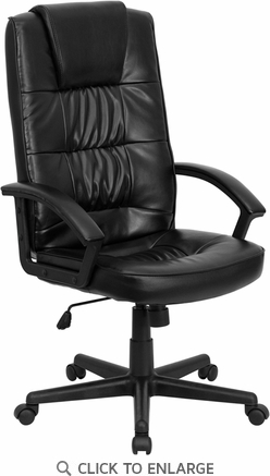 High Back Black Leather Executive Office Chair [GO-7102-GG]
