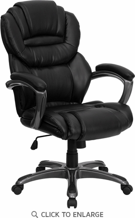 High Back Black Leather Executive Office Chair with Leather Padded Loop Arms [GO-901-BK-GG]