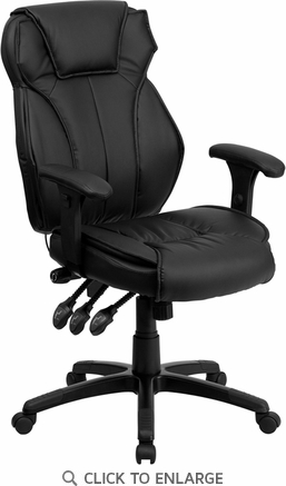 High Back Black Leather Executive Office Chair with Triple Paddle Control [BT-9835H-GG]