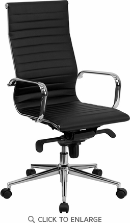 High Back Black Ribbed Upholstered Leather Executive Office Chair [BT-9826H-BK-GG]