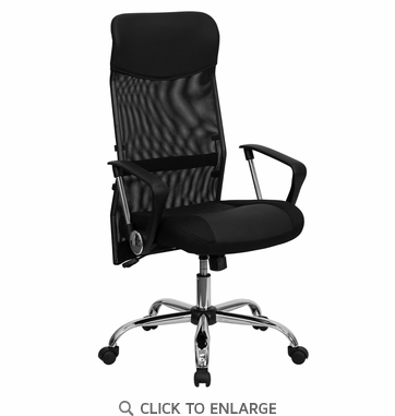 High Back Black Split Leather Chair with Mesh Back [BT-905-GG]