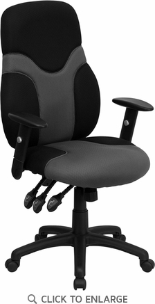 high back ergonomic black gray mesh office task chair with