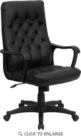 High Back Traditional Black Leather Executive Swivel Office Chair [CP-A136A01-GG]