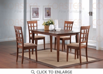 Hyde 5 Piece Walnut Finish Wheat Back Dining Set by Coaster - 101771