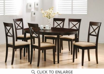 Hyde 7 Piece Oval Dining Table and Chairs by Coaster 100770-100774