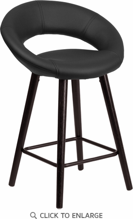 Kelsey Series 24'' High Contemporary Black Vinyl Counter Height Stool with Cappuccino Wood Frame [CH-152551-BK-VY-GG]