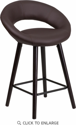 Kelsey Series 24'' High Contemporary Brown Vinyl Counter Height Stool with Cappuccino Wood Frame [CH-152551-BRN-VY-GG]