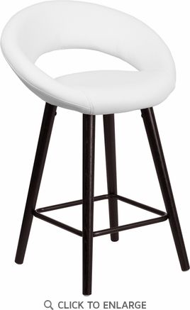 Kelsey Series 24'' High Contemporary White Vinyl Counter Height Stool with Cappuccino Wood Frame [CH-152551-WH-VY-GG]