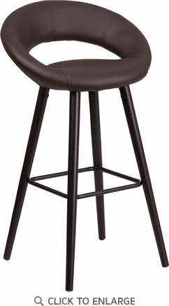 Kelsey Series 29'' High Contemporary Brown Vinyl Barstool with Cappuccino Wood Frame [CH-152550-BRN-VY-GG]