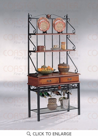 Kitchen Bakers Rack with Wine Rack in Dirty Oak by Coaster - 5424