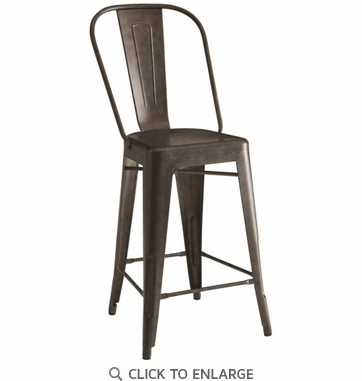 Lahner Antique Bronze Rustic Metal Counter Height Chair