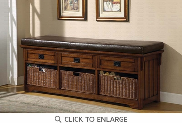 Large Oak Finish Storage Bench with Baskets by Coaster - 501060