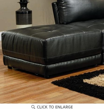 Laurentides Black Leather Ottoman by Coaster - 500893