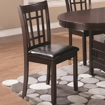 Linwood Espresso Dining Chairs with Leatherette Seat - Set of 2