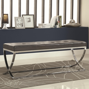 Man-Made Black Leather Bench with Silver Metal Base by Coaster 501156