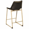 Matte Black Counter Height Stool with Brass Base, Set of 2