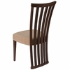 Medford Walnut Finish Wood Dining Chair with Dramatic Rail Back and Ultra-Padded Brown Fabric Seat [ES-CB-3820YBH-W-BGE-GG]