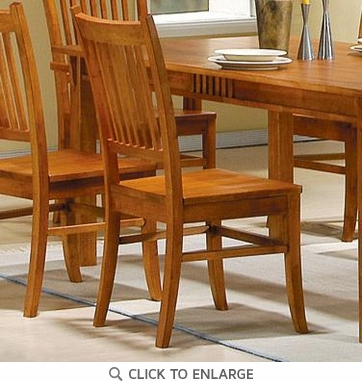 Medium Brown Oak Finish Mission Dining Chairs by Coaster 100622 - Set of 2
