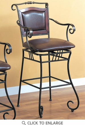 Metal Swivel Bar Stool with Brown Upholstery by Coaster - 100159