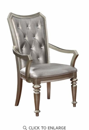 Metallic Faux Leather Upholstered Dining Arm Chair - Set of 2