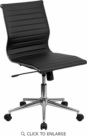 Mid-Back Armless Black Ribbed Upholstered Leather Conference Chair [BT-9836M-2-BK-GG]