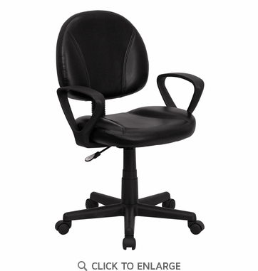 Mid-Back Black Leather Ergonomic Task Chair with Arms [BT-688-BK-A-GG]