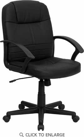 Mid-Back Black Leather Executive Swivel Office Chair [BT-8075-BK-GG]