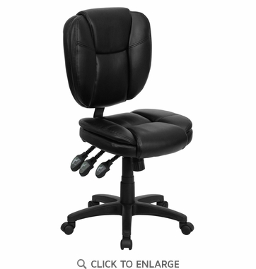 Mid-Back Black Leather Multi-Functional Ergonomic Task Chair [GO-930F-BK-LEA-GG]