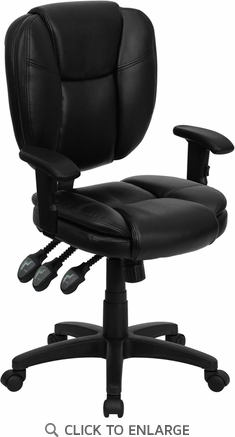 Mid-Back Black Leather Multi-Functional Ergonomic Task Chair with Arms [GO-930F-BK-LEA-ARMS-GG]