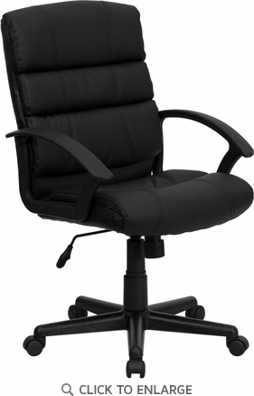 Mid-Back Black Leather Office Chair [GO-1004-BK-LEA-GG]